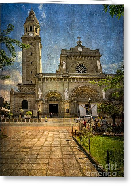 Cathedral Greeting Cards - Manila Cathedral Greeting Card by Adrian Evans