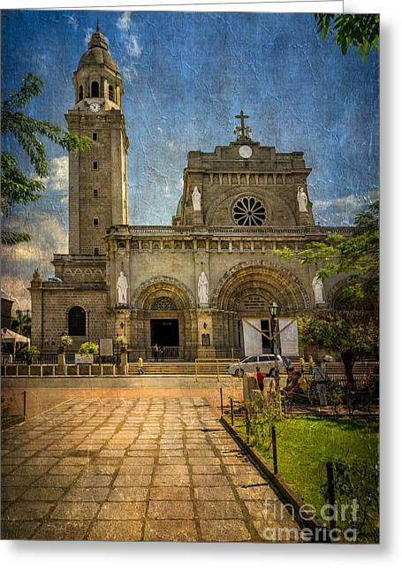 Manila Cathedral Greeting Card by Adrian Evans