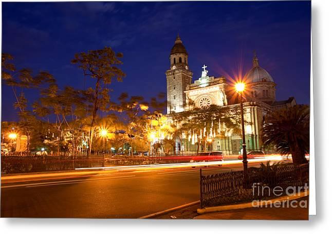 Fototrav Print Greeting Cards - Manila Cathedral at night Philippines Greeting Card by Fototrav Print