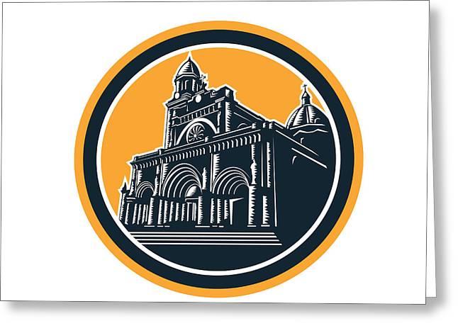 Manila Greeting Cards - Manila Cathedral Woodcut Retro Greeting Card by Aloysius Patrimonio