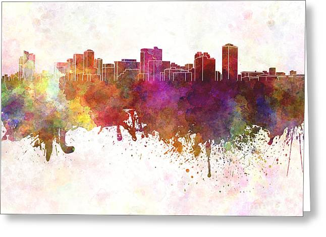 Manila Greeting Cards - Manila skyline in watercolor background Greeting Card by Pablo Romero