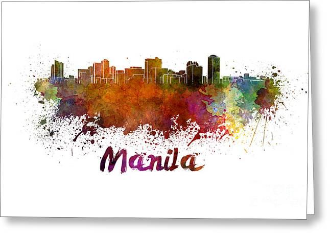 Manila Greeting Cards - Manila skyline in watercolor Greeting Card by Pablo Romero