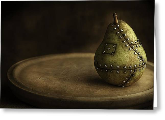One Pear Greeting Cards - Manipulated Fruit Greeting Card by Dirk Ercken