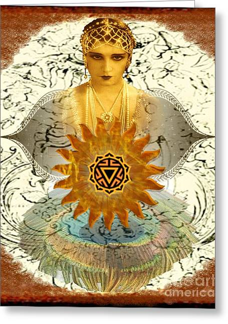 Will Power Mixed Media Greeting Cards - Manipura Goddess Greeting Card by Desiree Paquette