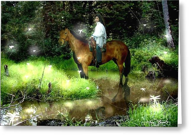 Haunted Forest Greeting Cards - Manisay Creek  Greeting Card by Tom Straub