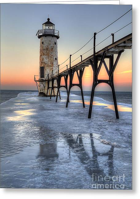 Manistee Lighthouse At Sunet Greeting Card by Twenty Two North Photography