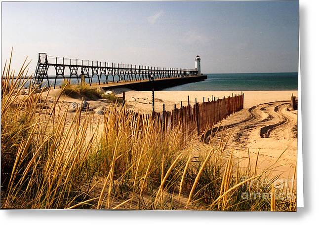 Sand Fences Greeting Cards - Manistee Lighthouse Greeting Card by Crystal Nederman