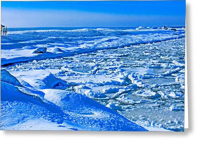Upper Peninsula Greeting Cards - Manistique Lighthouse In Winter, Upper Greeting Card by Panoramic Images