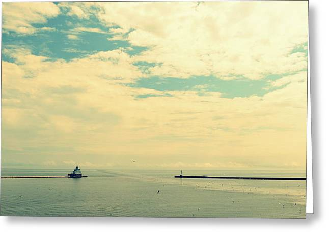 Michelle Greeting Cards - Manitowoc Breakwater Light Greeting Card by Michelle Calkins