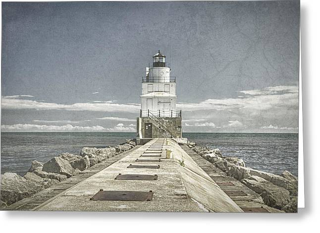 Historic Ship Greeting Cards - Manitowoc Breakwater Lighthouse II Greeting Card by Joan Carroll
