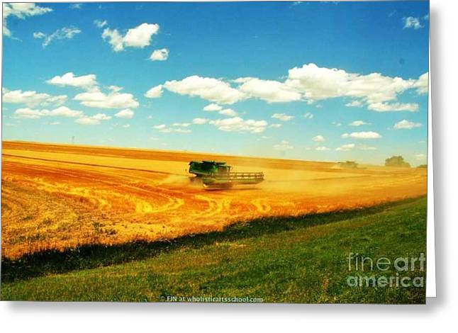 Harvest Deco Photographs Greeting Cards - Mankato Nebraska Wheat Harvest Greeting Card by PainterArtist FIN