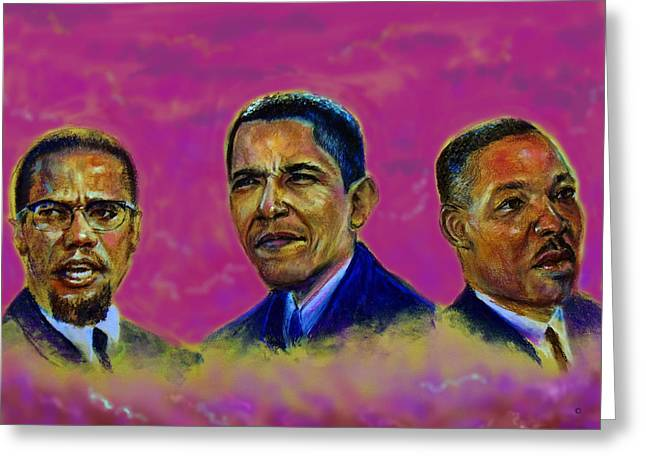 Discrimination Pastels Greeting Cards - M.A.N...Malcolm- obamA- martiN Greeting Card by Tommy  Winn