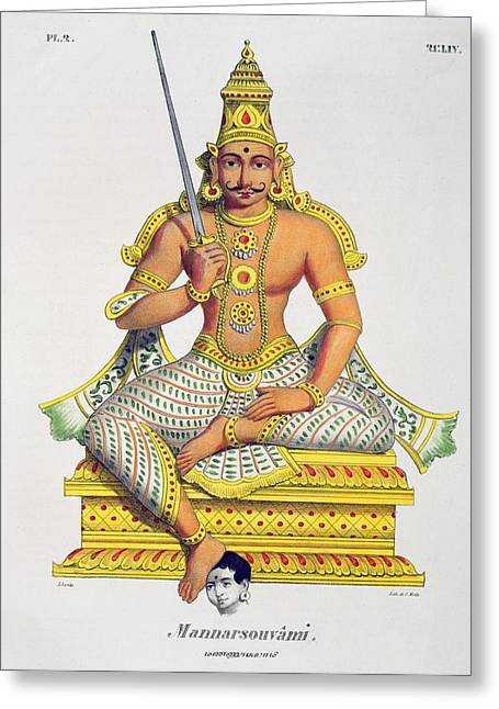 Hindu Greeting Cards - Mannarsouvami, Engraved By De Motte Greeting Card by Jacques Francois Gauderique Llanta