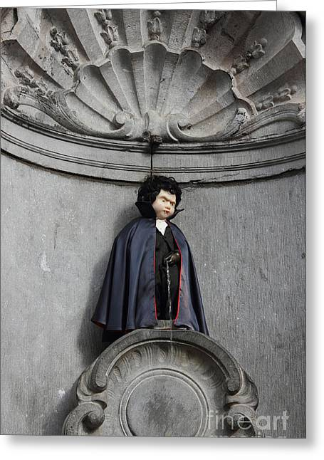 Urinating Greeting Cards - Manneken Pis in Brussels dressed as Dracula Greeting Card by Kiril Stanchev