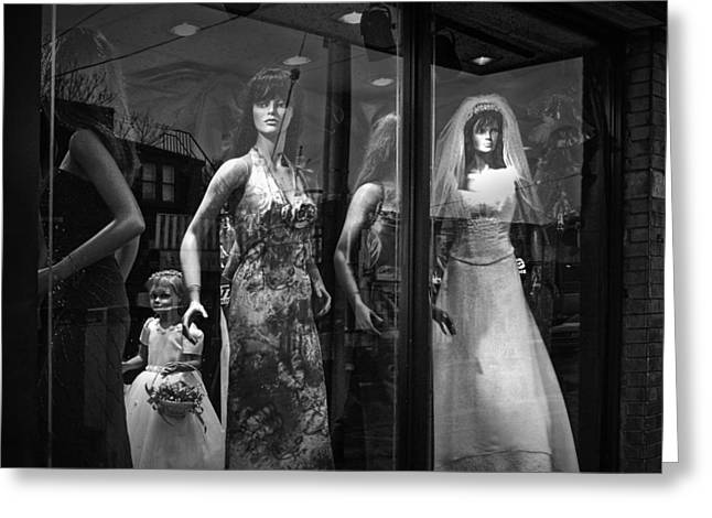 Apparel Greeting Cards - Mannequin Bridal Party in a Window Display Greeting Card by Randall Nyhof