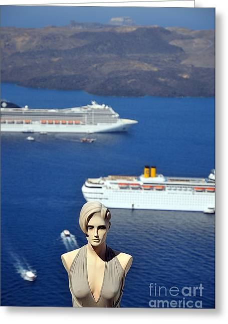 Trip Greeting Cards - Mannequin doll in Santorini islandf Greeting Card by George Atsametakis