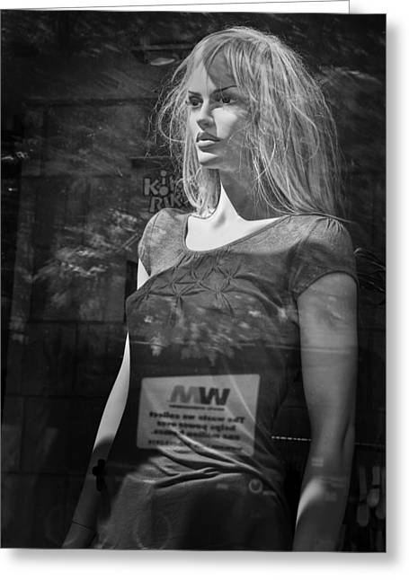 Selling Fine Art Greeting Cards - Mannequin in a Window Display Greeting Card by Randall Nyhof