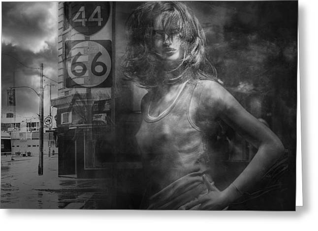 Randy Greeting Cards - Mannequin in a Window Display with 44 and 66 Road Sign Greeting Card by Randall Nyhof