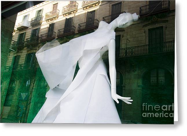 Mannequin In Barcelona Greeting Card by Victoria Herrera