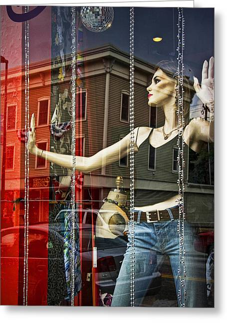 Randy Greeting Cards - Mannequin in storefront window display with casual clothing Greeting Card by Randall Nyhof