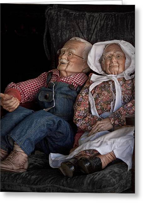 Older Couple Greeting Cards - Mannequin Old Couple in shop window display color photo Greeting Card by Randall Nyhof