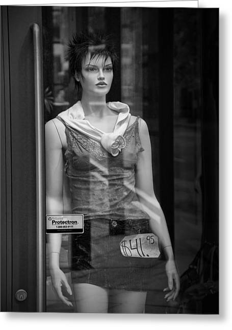Apparel Greeting Cards - Mannequin sale display in a storefront window Greeting Card by Randall Nyhof