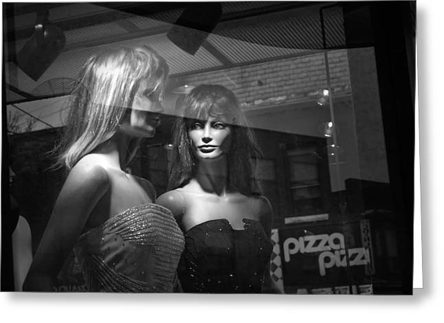 Store Fronts Greeting Cards - Mannequins in Storefront Window Display with Pizza Sign Greeting Card by Randall Nyhof