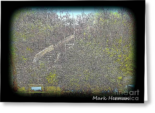 Park Scene Mixed Media Greeting Cards - Manners Park Stairway Greeting Card by Mark Herman