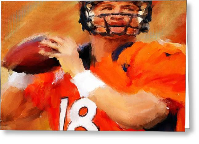 American Football Paintings Greeting Cards - Manning Greeting Card by Lourry Legarde