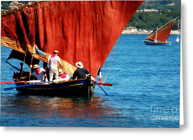 St.tropez Greeting Cards - Manning the Oars Greeting Card by Lainie Wrightson