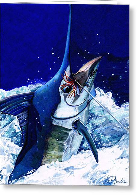 Marlin Tournaments Greeting Cards - Manny Marlin Greeting Card by Karen Rhodes