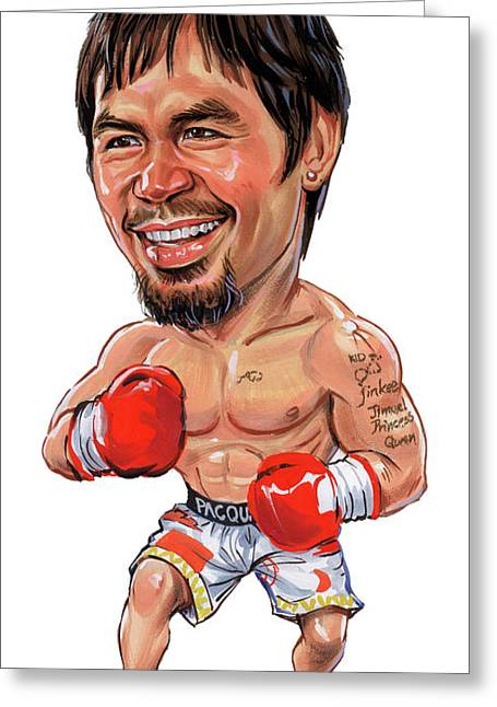 Famous Person Paintings Greeting Cards - Manny Pacquiao Greeting Card by Art