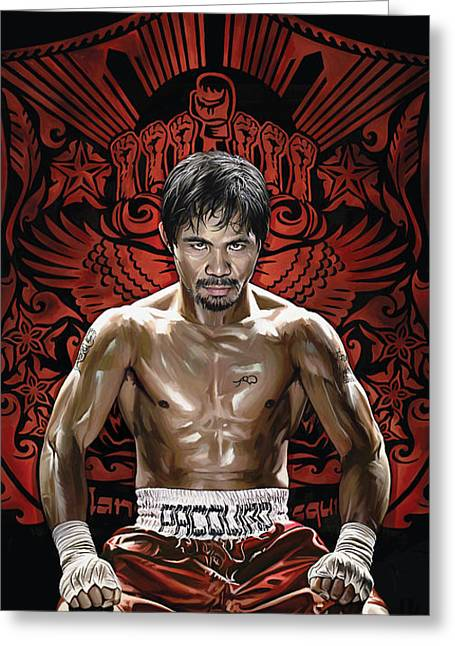 Sports Art Print Greeting Cards - Manny Pacquiao Artwork 1 Greeting Card by Sheraz A