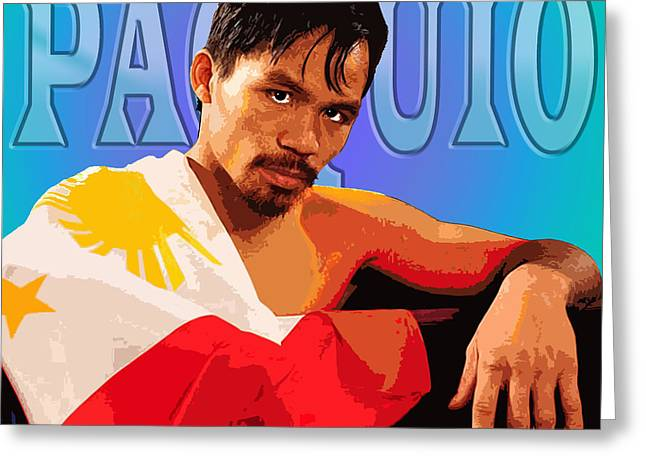 Sports Figures Greeting Cards - Manny Pacquio Greeting Card by John Keaton