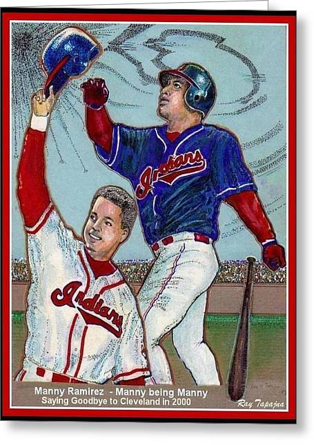 Power Hitter Mixed Media Greeting Cards - Manny Ramirez  being Manny  Greeting Card by Ray Tapajna
