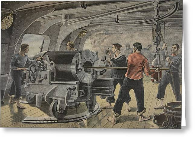 Battleships Greeting Cards - Manoeuvering Of A Cannon By The Spanish Greeting Card by Fortune Louis Meaulle