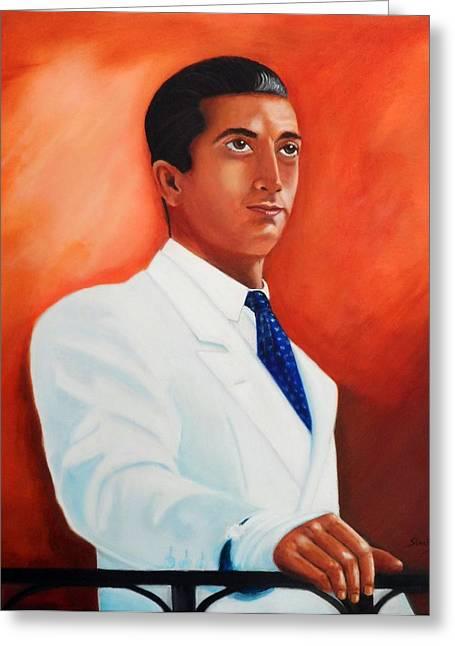 Toreador Paintings Greeting Cards - Manolete El Hombre Greeting Card by Manuel Sanchez