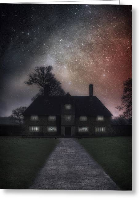 Trees Light Windows Greeting Cards - Manor At Night Greeting Card by Joana Kruse