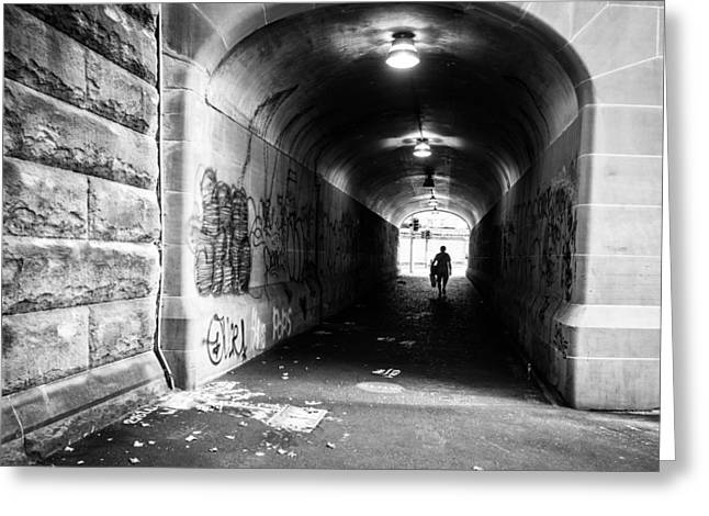 Justin Woodhouse Greeting Cards - Mans Silhouette in Urban Tunnel Black and White Greeting Card by Justin Woodhouse