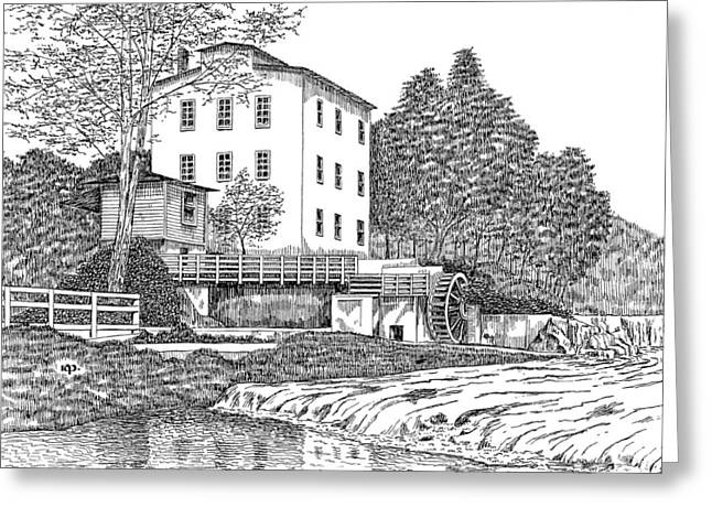 Grist Mill Drawings Greeting Cards - Mansfield Mill Greeting Card by Robert A Powell