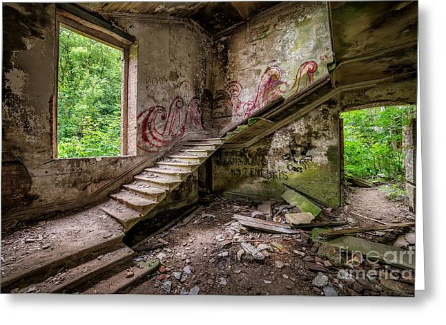Rubbish Greeting Cards - Mansion Graffiti Greeting Card by Adrian Evans