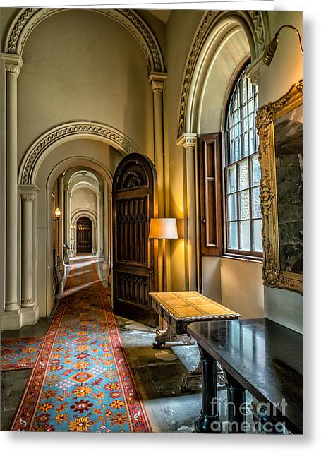 Oil Lamp Greeting Cards - Mansion Hallway II Greeting Card by Adrian Evans