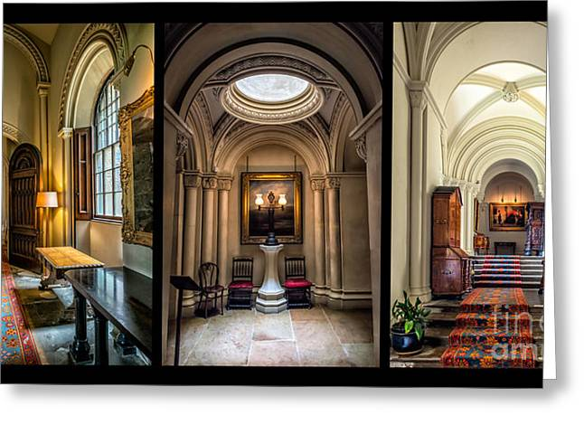 Cabinet Greeting Cards - Mansion Hallway Triptych Greeting Card by Adrian Evans