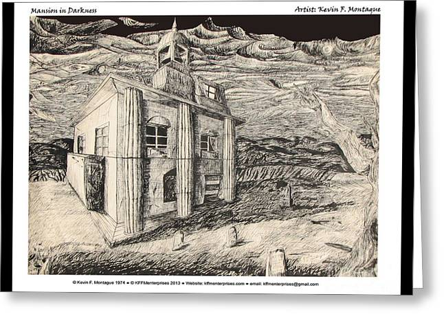 Stormy Weather Drawings Greeting Cards - Mansion in Darkness Greeting Card by Kevin Montague
