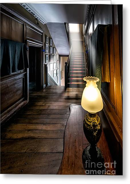 Light Beams Greeting Cards - Mansion Lamp Greeting Card by Adrian Evans