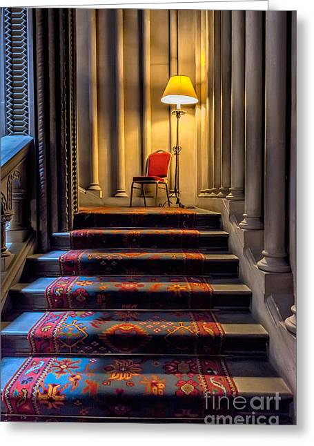 Hall Greeting Cards - Mansion Stairway Greeting Card by Adrian Evans