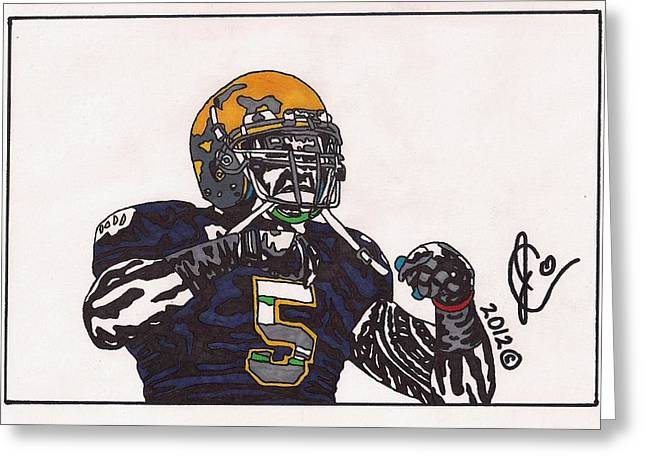 Ncaa Drawings Greeting Cards - Manti Teo Greeting Card by Jeremiah Colley