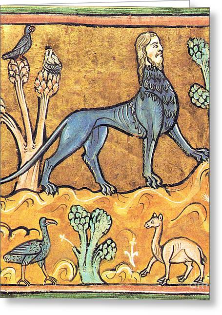 Fabled Greeting Cards - Manticore, Legendary Creature Greeting Card by Photo Researchers