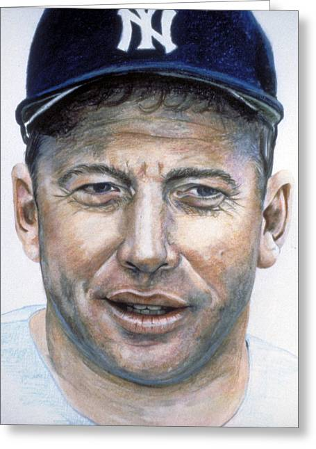 Mickey Mantle Portrait Greeting Cards - Mantle I Greeting Card by Londie Benson