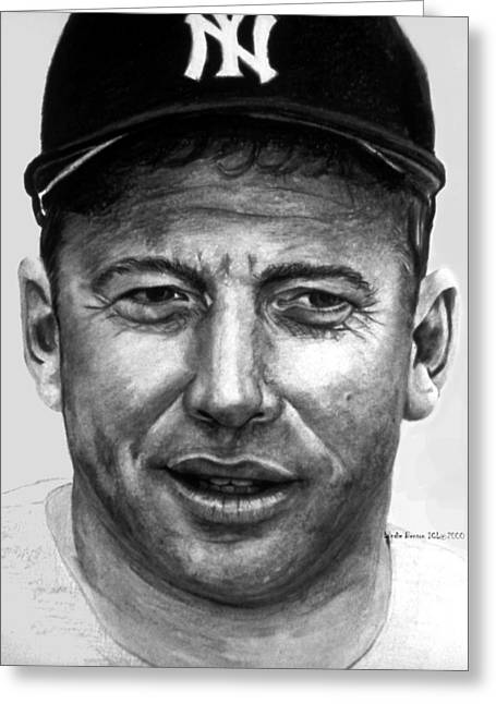 Mickey Mantle Portrait Greeting Cards - Mantle II Greeting Card by Londie Benson